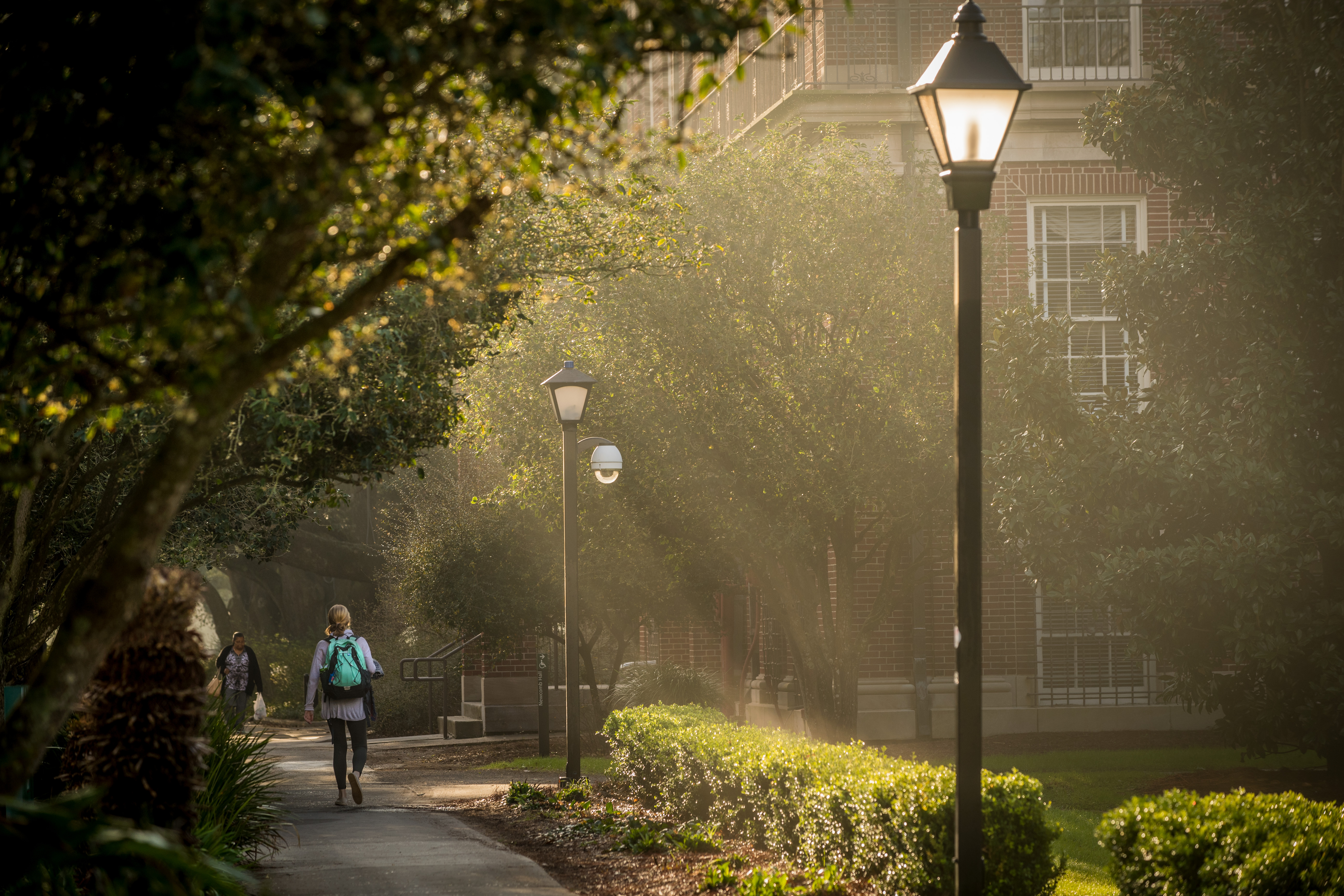 A student walks down a lighted path